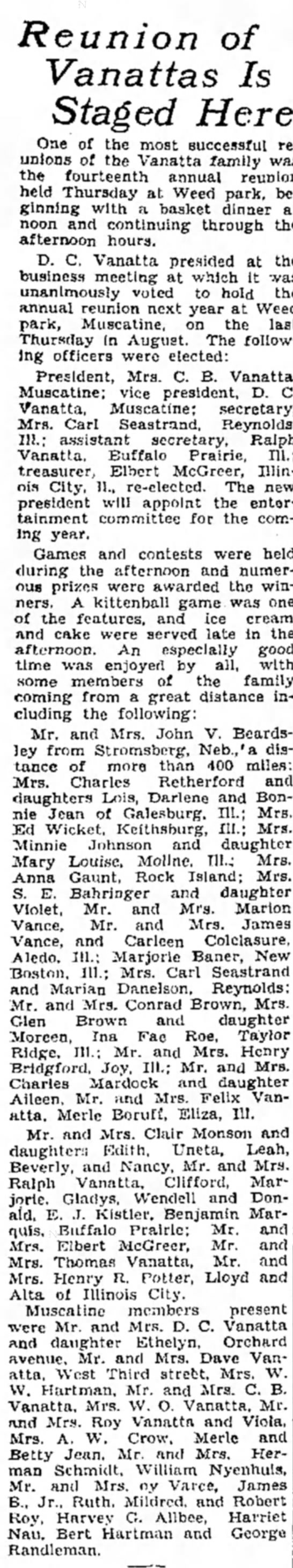The Muscatine Journal and News-Tribune (Muscatine, Iowa)  Friday, August 28, 1931 - Page 4 - Reunion of Vanattas Is Staged Here One of the...