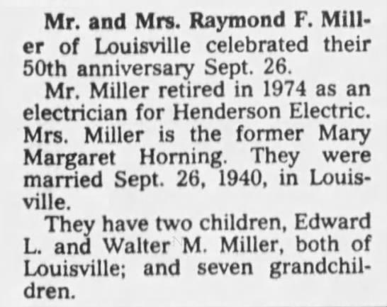 - Mr. and Mrs. Raymond F. Miller of Louisville...