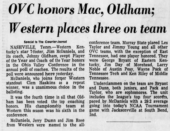 All-OVC 1971 - OVC honors Mac, Oldham; Western places three on...