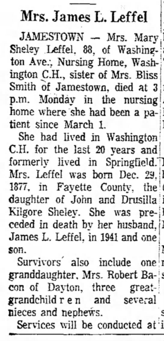 Mary M (Sheley) Sharette Leffel newspaper obituary 1 - Mrs. James L. Leffel JAMESTOWN — Mrs. Mary,best...