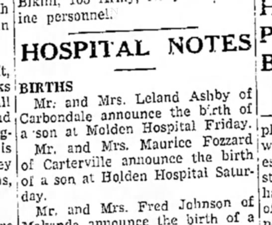- ine personnel. ! HOSPITAL NOTES Mr and Mrs...