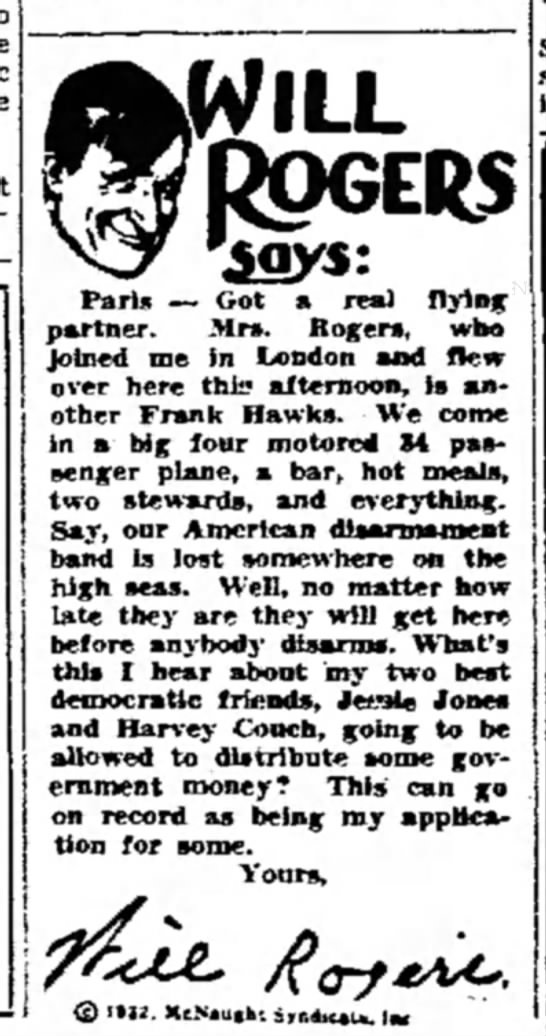 Will Rogers column 1932 - WILL ROGERS Paris — Got a real flying partner....