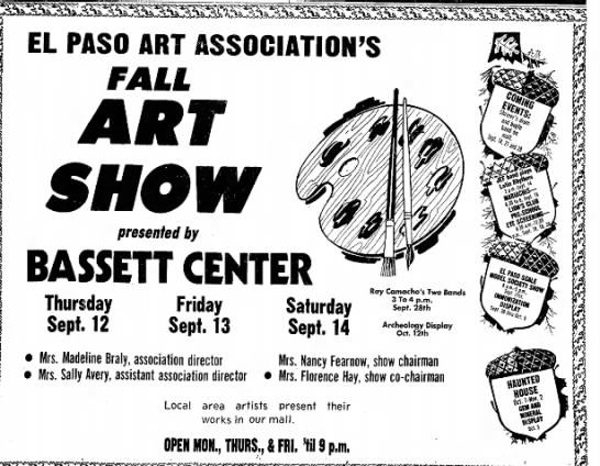 1974-09-12 EPAA Bassett Fall Show - EL PASO ART ASSOCIATION'S FALL presented by...