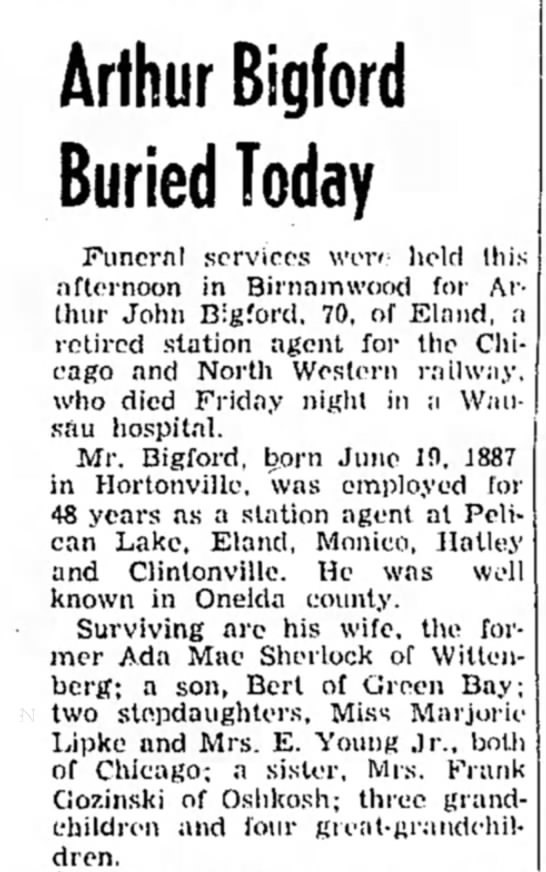 Arthur Bigford Obit