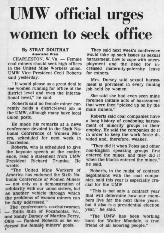 Sandy Dorsey UMW Courier-Journal (Louisville, Ky) Jun 16th 1984 - UMW official urges women to seek office By...