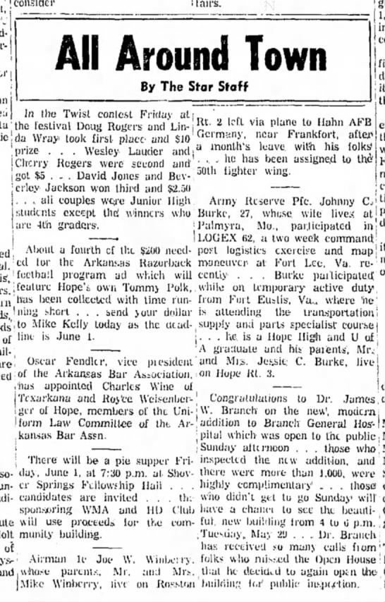 Winberry HS 28 May1962 p1 - i 1 . consider !fairs. All Around Town By The...