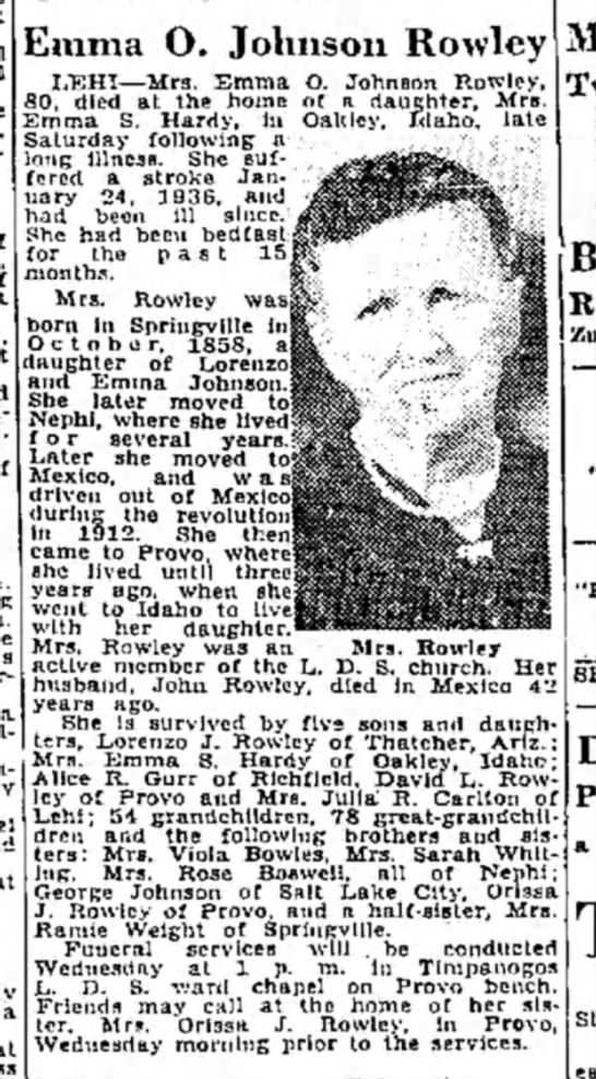 Emma Ozella Johnson Obituary24 April1939 SLTribune - Emma O. Johnson Rowle LEHI—Mrs. Emma O. Johnson...