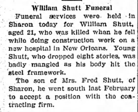 Shutt, William son of Fred - William Shutt Funeral Funeral services were-...