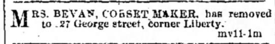 Bevan COrsett Shop Moves - M E3. BEVAN, CO&SETM&KER. has removed to .27...