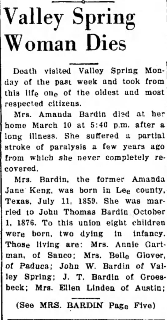 The Llano News20 Mar 1941 - Valley Spring Woman Dies Death visited Valley...