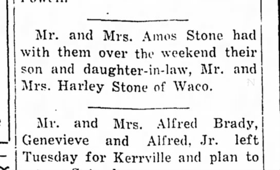 Odell Goodman Stone - Mr. and Mrs. Amos Stone had with them over the...