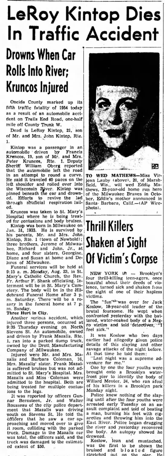 F. Kruncos car accident Aug 1954 - LeRoy Kintop Dies In Traffic Accident Drowns...