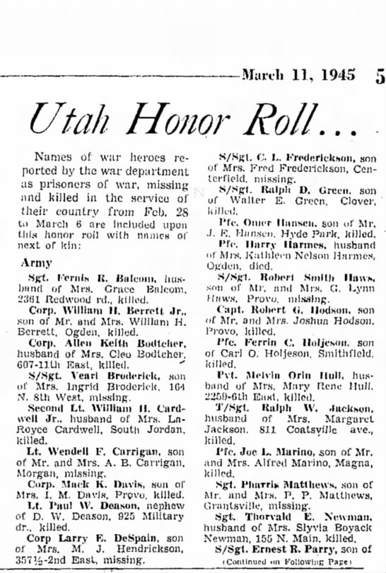 1945 Wendell Carrigan missing in action. - March 11, 1945 5 Utah Honor Roll... Names of...
