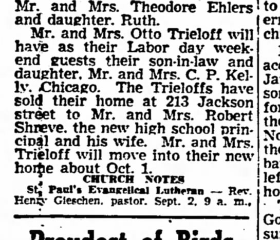 - Mr. and Mrs. Theodore Ehlers and daughter....