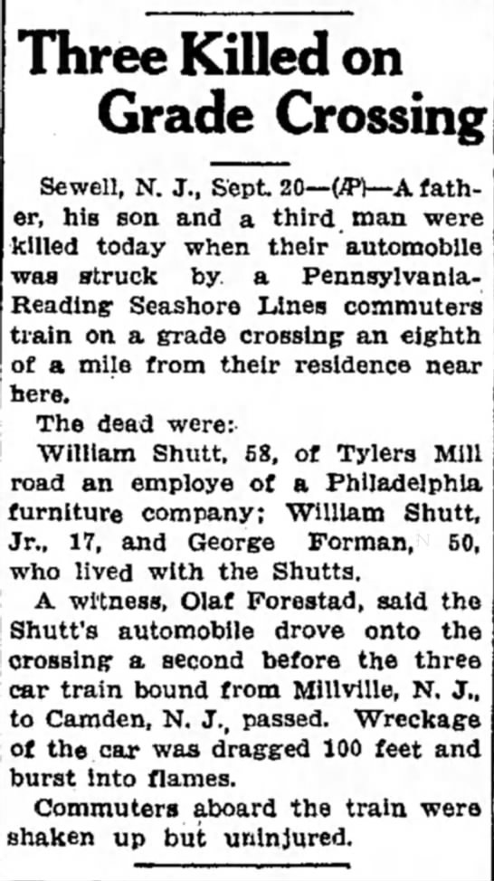 Shutt, william, killed - Three Killed on Grade Crossing Sewell, N. J.,...