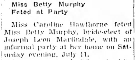 13 July 1953 Hope Star p3 - Miss Betty Murphy Feted at Party Miss Caroline...