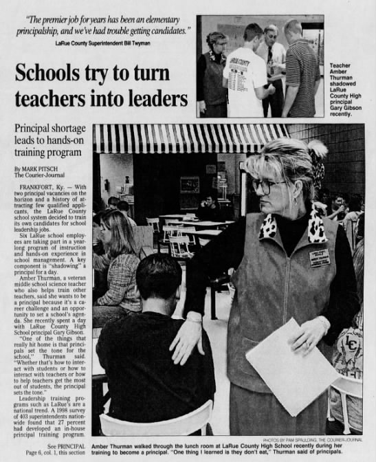 """2000 - Teachers into principals - """"The premier job for years has been an..."""