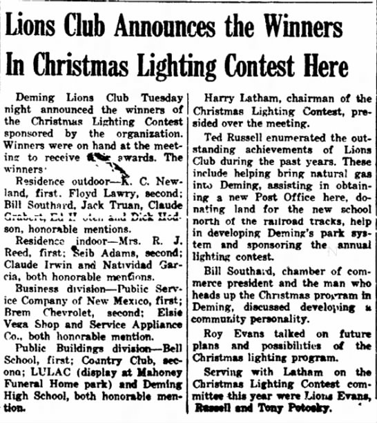Winners of Christmas Lighting Contest listed: Jack Truan honorable mention Jan 1953 - were G. the Members or hos- Lions Club...