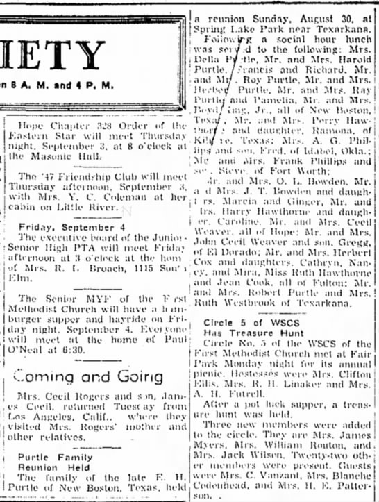 Hope Star p1, 2 Sept 1953, Ruth Hawthorne of Fulton - 8 A. M. »nd 4 P. M. i Delia I ! Turtle. . : and...