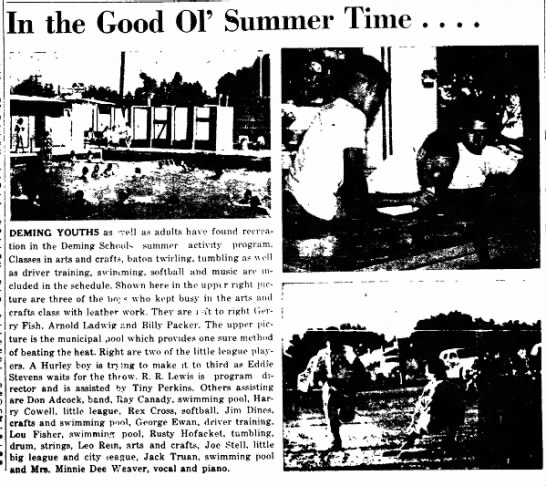 Summer 1953 Mr Jack Truan swimming pool as part of Deming School summer activity program - GI not them lenders of is low- direct op- were...