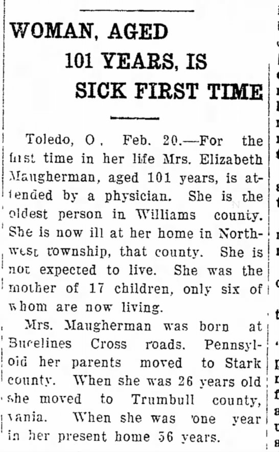 Elizabeth Maugherman - , an'i | h e ' i oldest person in Williams...