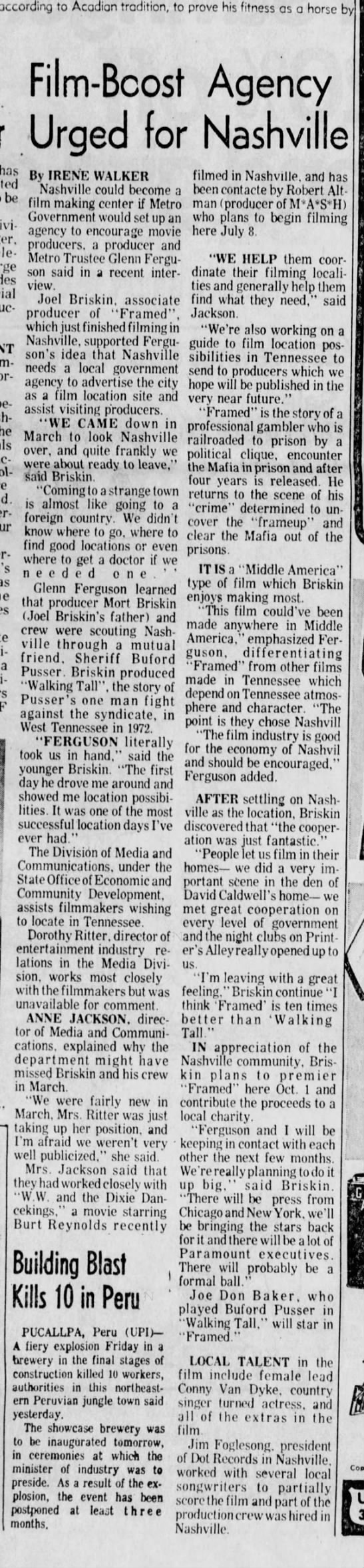 1974-06-23 TENNESSEAN Film-Boost Agency Urged for Nashville_20A - according to Acadian tradition, to prove his...