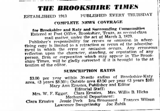 Joe Zubik -- The Brookshire Times staff