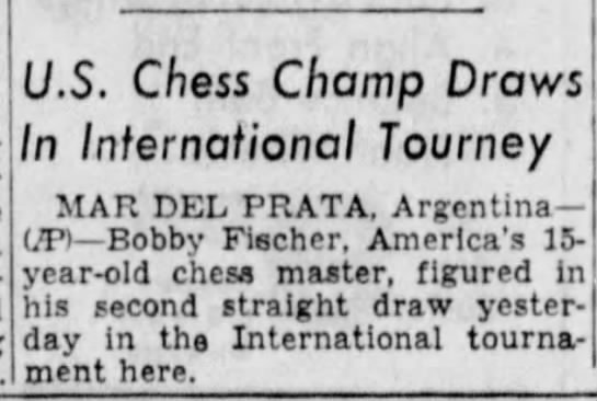 U.S. Chess Champ Draws In International Tourney - U.S. Chess Champ Draws In International Tourney...