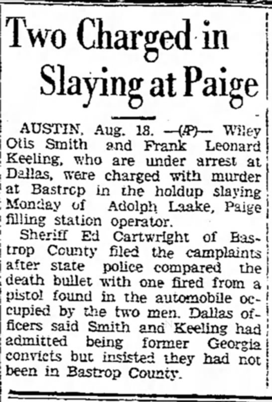 - Two Charged in I ° - Slaying at Paige AUSTIN,...