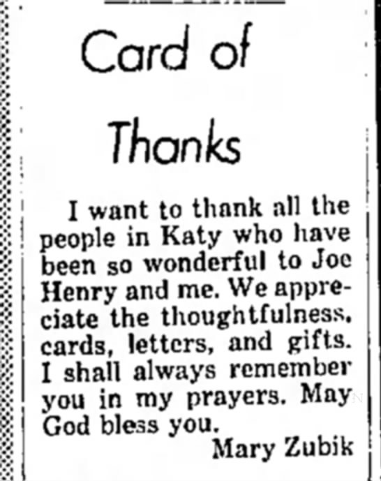 Mary Zubik - Card of Thanks