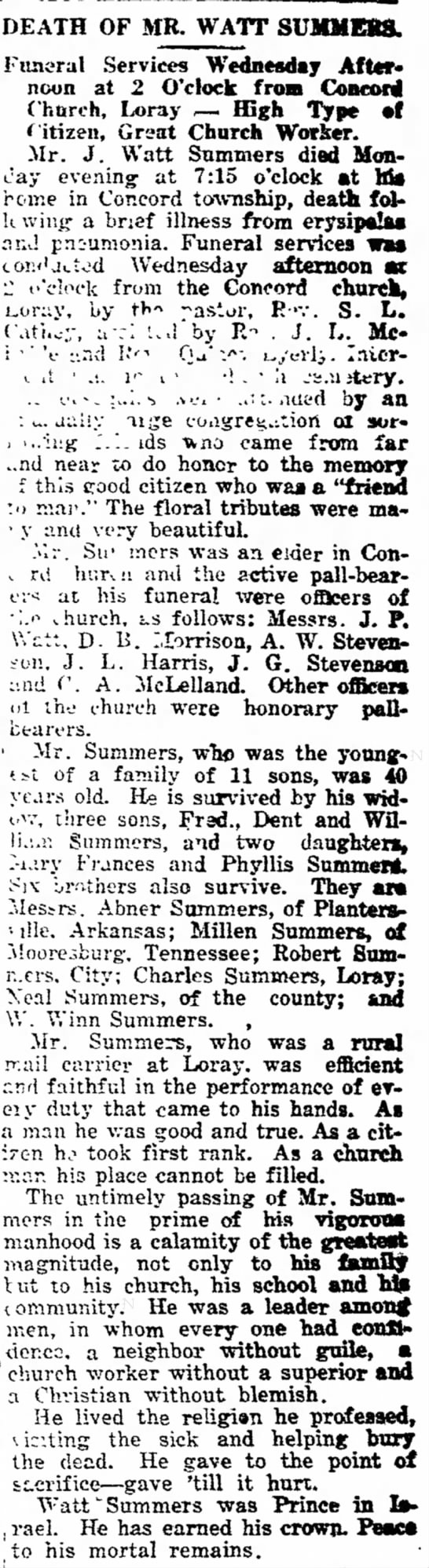 Obit Watt SUMMERS - AWA\ .DEATH OF MR. WATT Funeral Services...