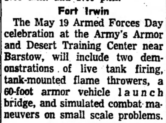 - Fort Irwin The May 19 Armed Forces Day...
