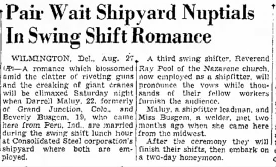 Darrell Maluy and Beverly Busgen marriage recognition - Pair Wait Shipyard Nuptials In Swing Shift...