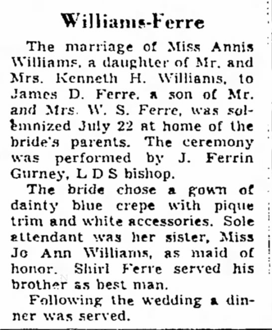 6 August 1950 - Williains-Fcrre The marriage of Miss Annis...