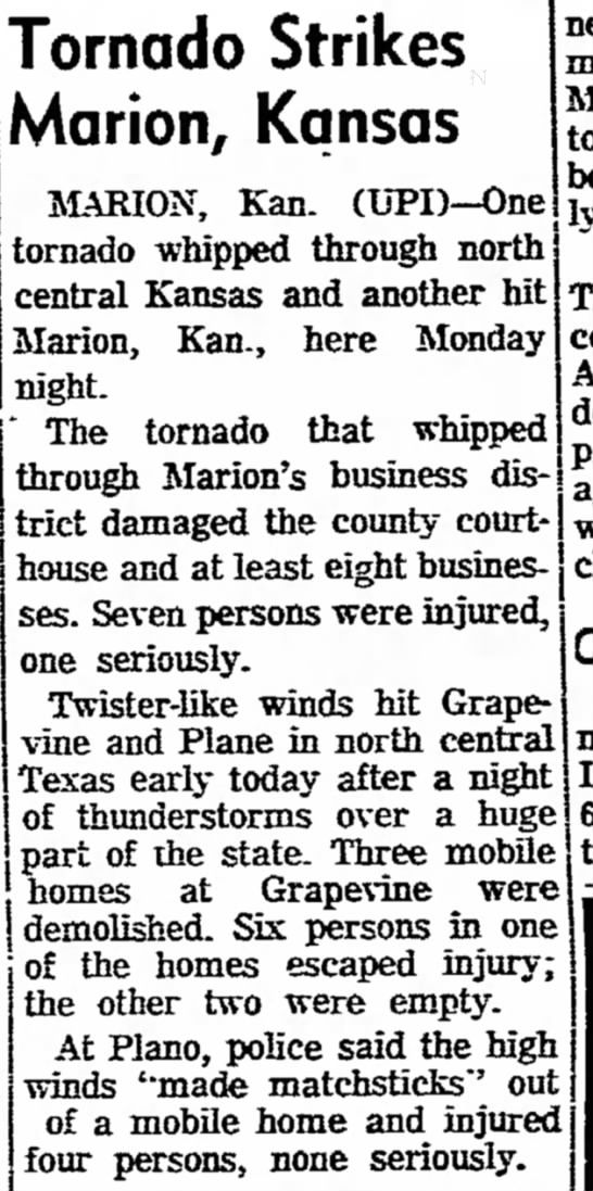 This is Tornado happening when I was born - Tornado Strikes Marion, Kansas MARION, Kan....