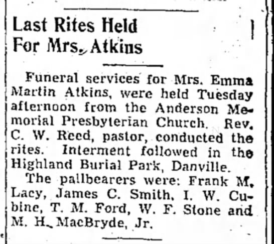 Emma Atkins - Last Rites Held | For Mrs.>Atkins Funeral...