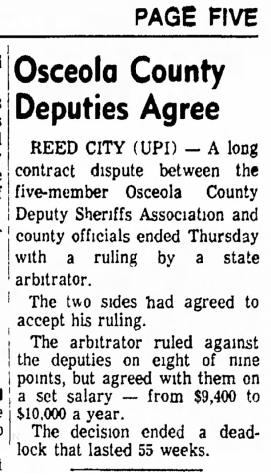 Holland Evening Sentinal Sept 12, 1975 Osceola Co Sherrifs contract dispute ends - PAGE FIVE Osceola County Deputies Agree REED...