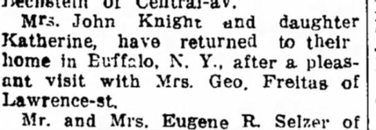 The Sandusky Star-Journal (Sandusky, Ohio), 8 July 1916, Page 5  - Mrs. John Knight and daughter Katherine, have...