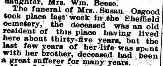 Osgood, Susan funeral, 12 Mar 1903 - daughter, Mrs. Wm. Beese? The funeral of...