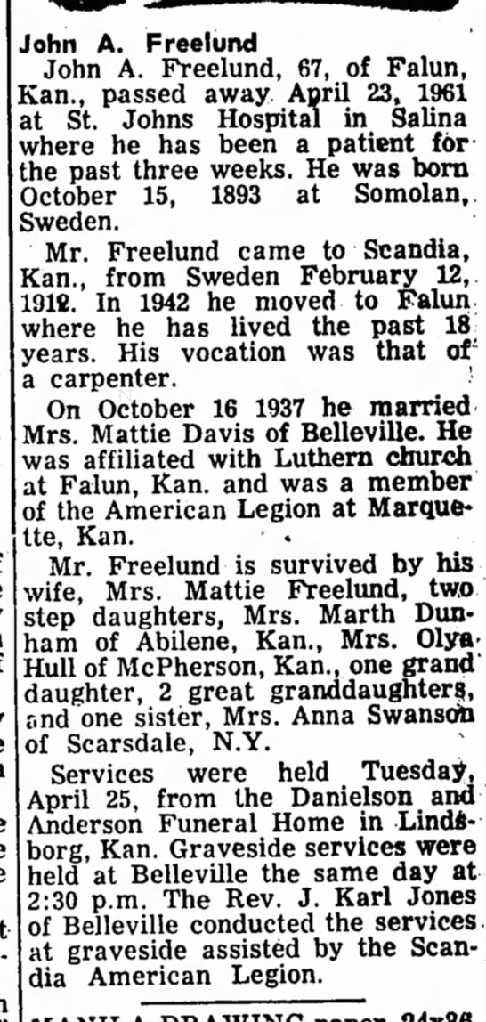 Aunt Mattie's 3rd Husband - John A, Freelund John A. Freelund, 67, of...