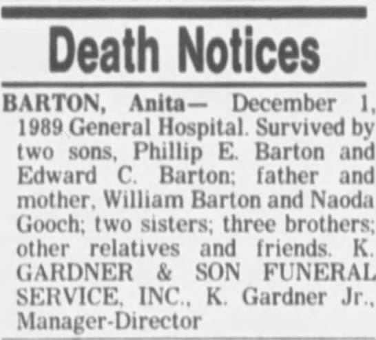 - Death Notices BARTON, Anita December 1, 1989...