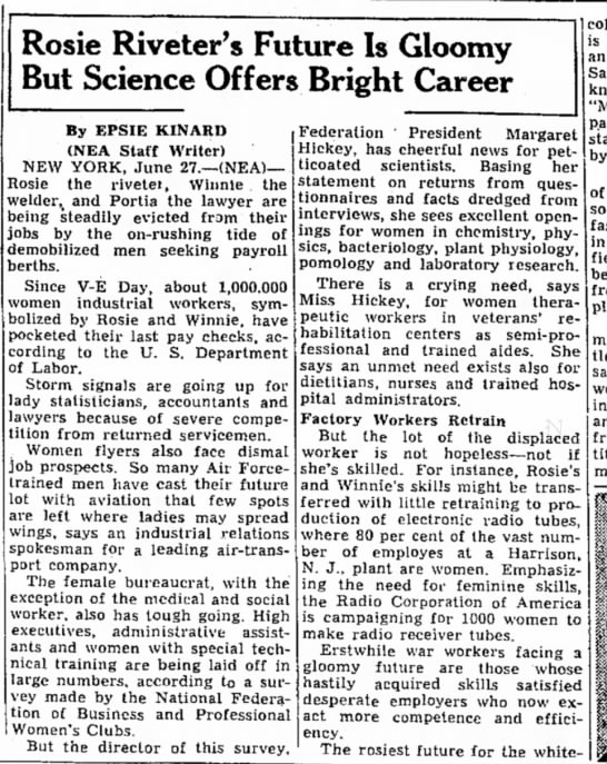 1946 account of women losing wartime jobs. - Rosie Riveter's Future Is Gloomy But Science...