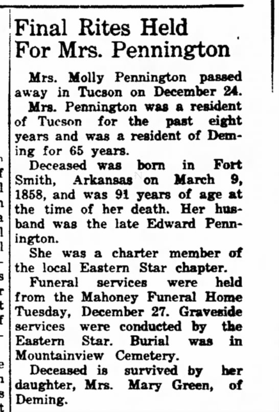 Mrs. Molly Pennington Rites Dec 1949