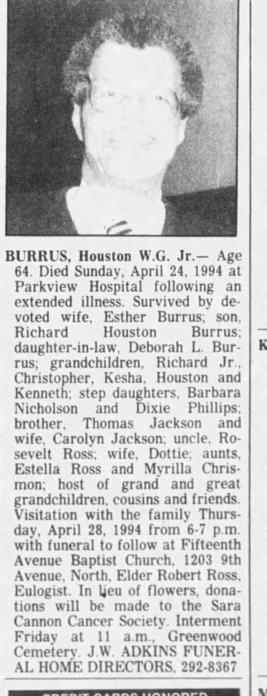 Houston Burrus Jr obit