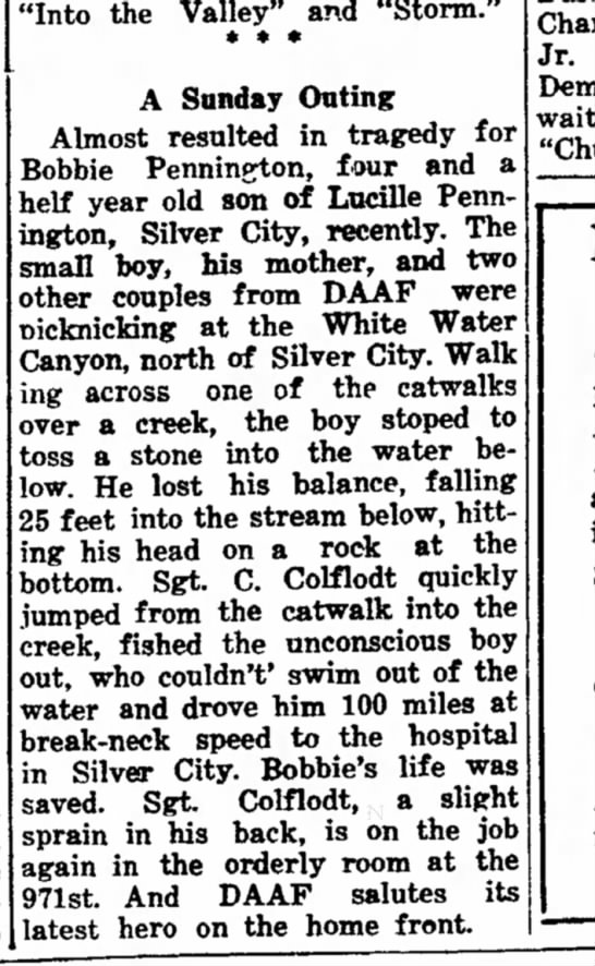 """Bobbie Pennington accident and heroic  action of Sgt C Colflodt oct 1943 - in head Elbert any the autographed have """"Into..."""