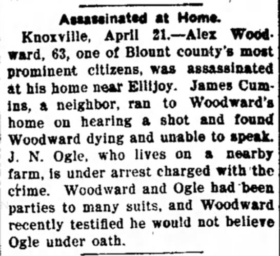 Shooting of Alexander Woodward - AwMinattd at Horn*. Knoiville, April Zl.--Alex...