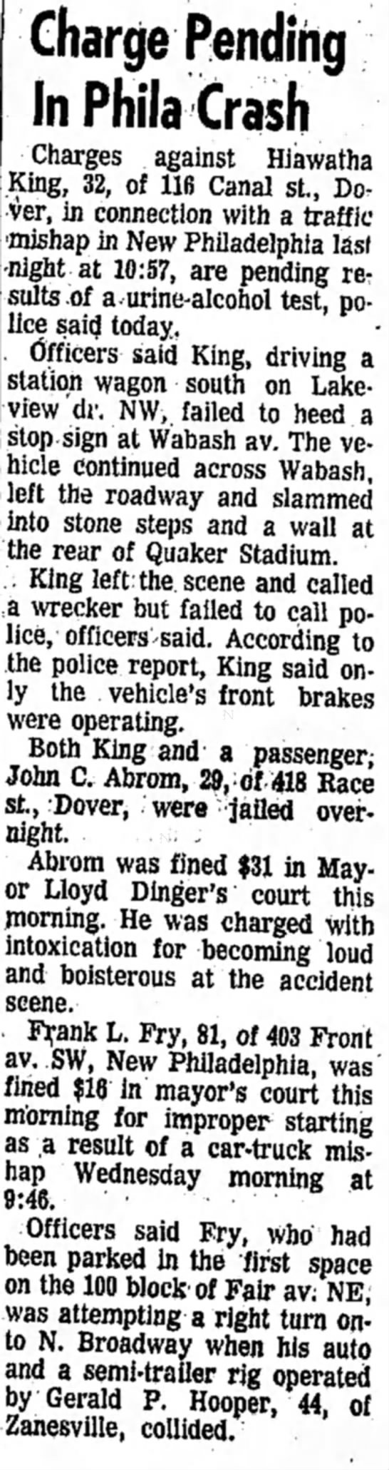 Hiawatha King May 9, 1968 Car accident - Charge Pending In Phila Crash Charges against...