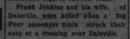Frank & Martha Jenkins killed by train - Frank Jenkins and bis wife. ot r:i!pvi;it, wcro...