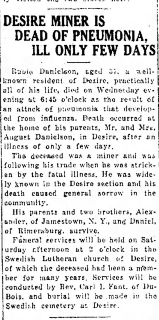 Rudie Danielson death notice - DESIRE MINER IS DEAD OF PNEUMONIA, ILL ONLY^FEW...