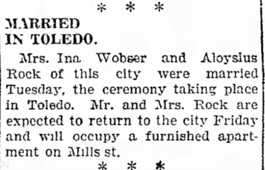 Sandusky couple married in Toledo. - for MARRIED IN TOLEDO. Mrs. Ina Wobser and...